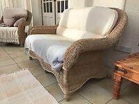 Rattan Conservatory/Garden Room Furniture - Sofa & 2 Chairs