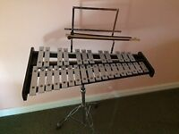Glockenspiel - 30 notes, on stand, includes music holder, beaters, practice pad and bag