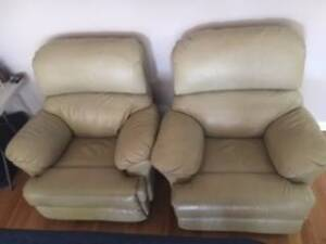 RECLINER LOUNGE (Pair) 2 BEIGE LEATHER LOOK COMFY,  RICHMOND NSW Richmond Hawkesbury Area Preview