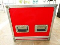 Amptown Flight Case in red.External dimensions are 67 x 48.5 x 46 cm