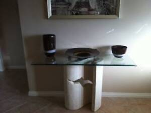 Hall Glass Table with Fossil Stone Base as New Greenwith Tea Tree Gully Area Preview