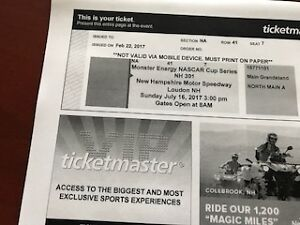 NH 301 July-16 Monster Energy Nascar Cup Series Qty: 5 Tickets