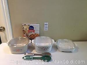 Corning Ware Casserole Dish Lot with Cookbook and Spoons