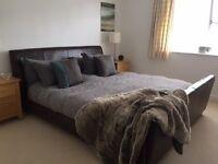 Superking leather bedframe with pocket sprung mattress
