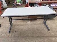 Grey Straight Desk- Adjustable Feet