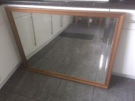Beveled edge Mirror, measuring 43inch X 33inch Gold/Bronze frame £30