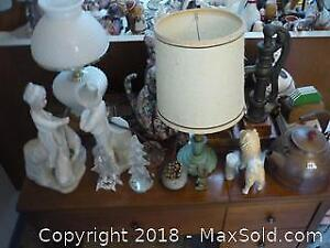 Assorted Figurines and Lamps. -B