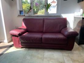 Natuzzi Burgundy leather sofa