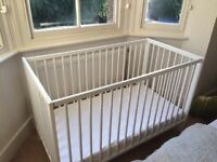 White Ikea cot, hardly used