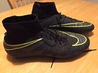 Nike Hypervenom Football Boots, Adult size 10UK, Black Green, not Addidas