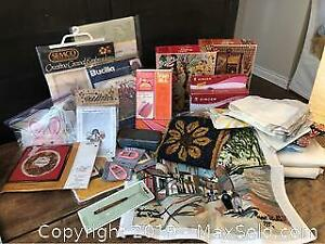 Assorted Vintage Sewing, 1932 Needlepoint Paris scene and Craft Lot