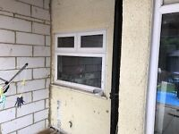White PVC window with two top openings, good condition