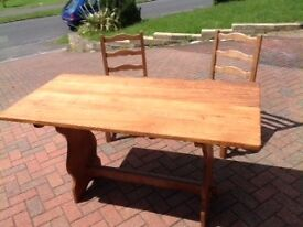 SOLD OAK TABLE WITH 6 CHAIRS