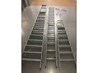 two sets of aluminium steps and one set long ladders with offset for sale