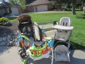 stroller,playpen,high chair,and deluxe baby bouncer $250