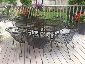 Wrought iron patio table & 6 chairs with centre umbrella option