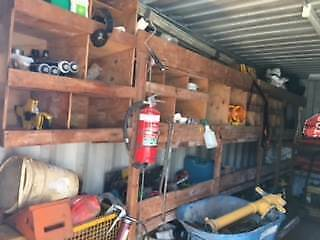 SHIPPING CONTAINER - Set up with power, shelves, includes tools
