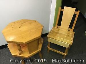 Pine Chair Table