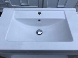 White Bathroom Vanity Unit with Sink.