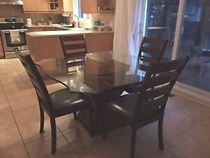 Octagonal glass table 4 chairs