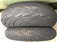 Motorbike tyres and alloy. Michelin, Anakee, BMW R1200