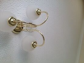 2 lights fitting for ceiling with white glass shades, very easy to fix.