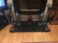 POLISHED BLACK GRANITE FIREPLACE HEARTH