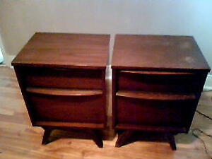 Mid-Century Persian Walnut Nightstand  Tables