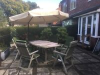 Garden Patio Table, 6 Chairs with Cushions & Parasol
