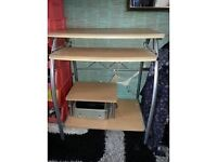 Computer desk with retractable laptop shelf 26 W x 15 D x 31 H in INCHES- great condition