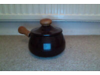 1970's fondue pot with with white enamel lining and lid