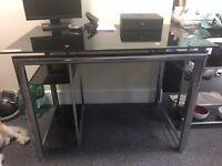 5 Black Glass Desks For Sale. 2 are corner desks.