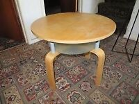 SMALL ROUND COFFEE TABLE WITH GLASS SHELF (TEAK FINISH) Reduce to £4