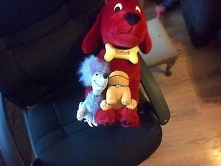 Big Red Dog holding Cleo and T Bone post not inc like new