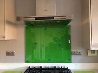 Grass green glass splashback