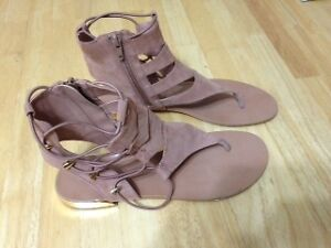 ALDO SANDALS FAUX SUEDE AND GOLD - SIZE 11