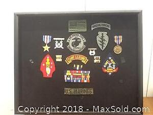 Us Marines Shadow Box With Medals And Patches