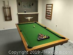 Pub sized slate pool table, balls and cues