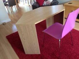 Next Oak Effect corner desk with modern chair