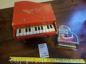 vintage toy piano, music box