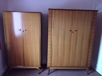 2 good quality wood wardrobes-lockable good storage space.