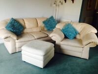Leather settee in cream (3 seater) with armchair and large foostool