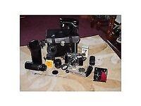 Practica Super AF Film Camera plus full lens kit