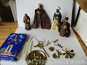 1940s/50s JOLO, Xmas Figures With A Vintage Xmas Candle Powered Chimes Set. GERMANY.