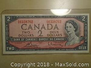 1954 Canadian Two Dollars Banknote