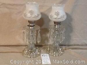 Pair Of Crystal And Glass Lamps