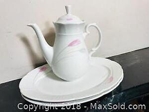 Vintage Relfor Tulip Fine Bohemian China From Czechoslovakia Teapot and Platters