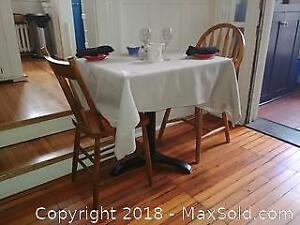 Ply Wood Table On Metal Pedestal With Chairs A