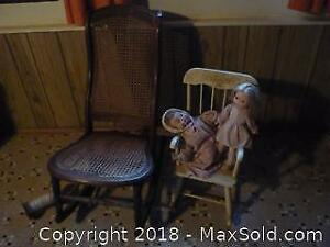 Two Antique Rockers and Dolls. One with cane back. -A