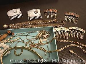Box Hair Combs And Costume Jewelry